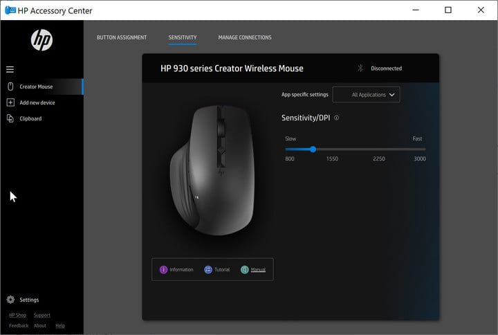 HP Accessory Center app sets mouse resolution.