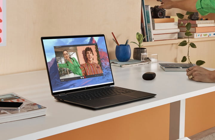 The HP Spectre x360 16 on a white desk.
