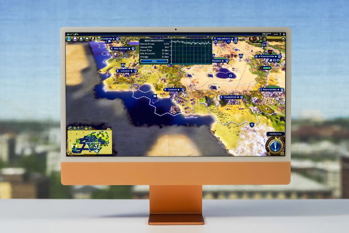 The 2021 iMac playing the game Civilization