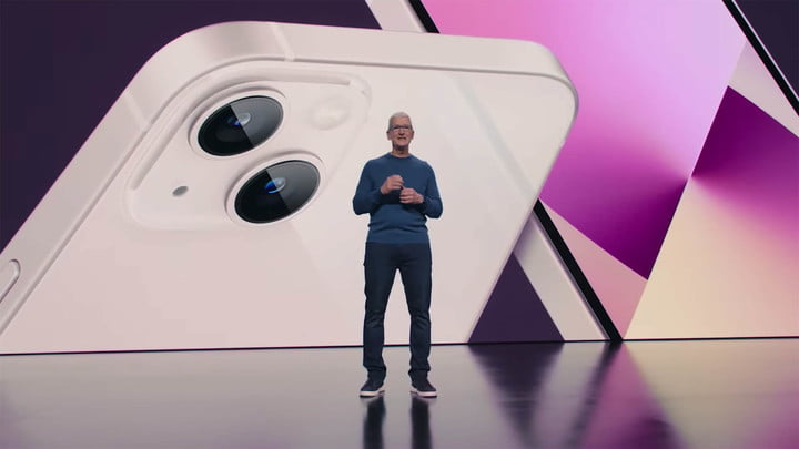 Tim Cook unveiling the iPhone 13 at Apple's California Streaming event in September 2021.