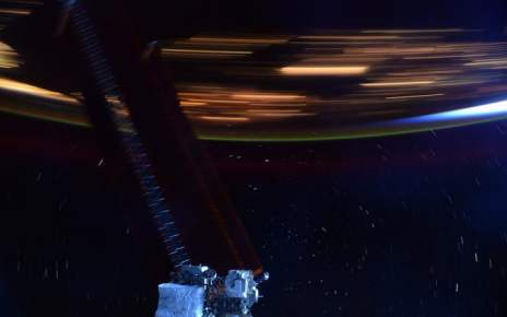 Space station photo tries to convey satellite's high speed