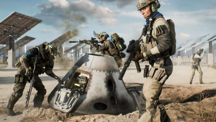 A soldier stands next to a dropped satellite in Battlefield 2042 Hazard Zone.