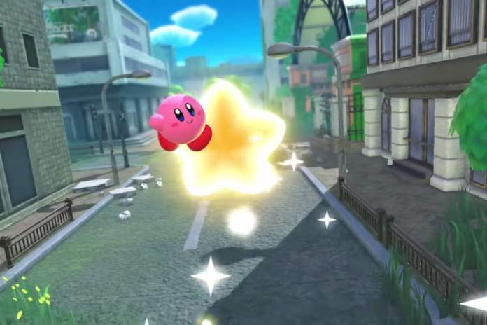Kirby Ann riding a star in Kirby and the Forgotten Lands.