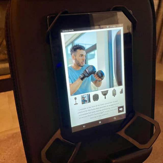 Photo of the Liteboxer tablet mount.