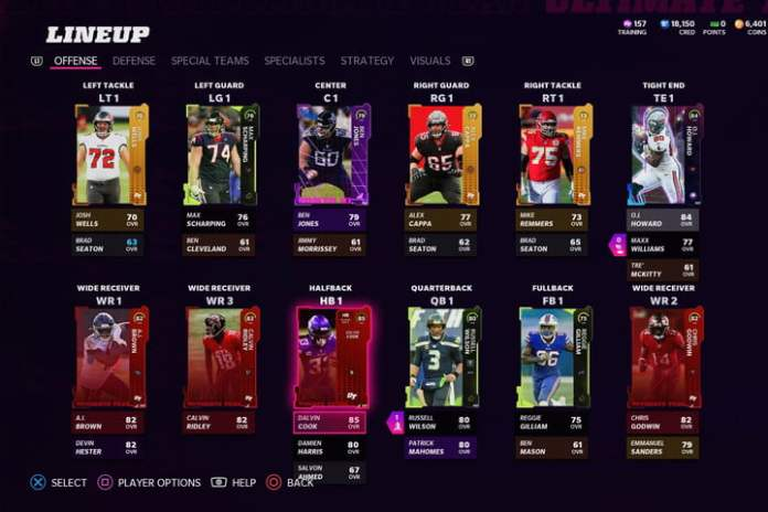 Offensivee line-up in Madden 22 Ultimate Team.