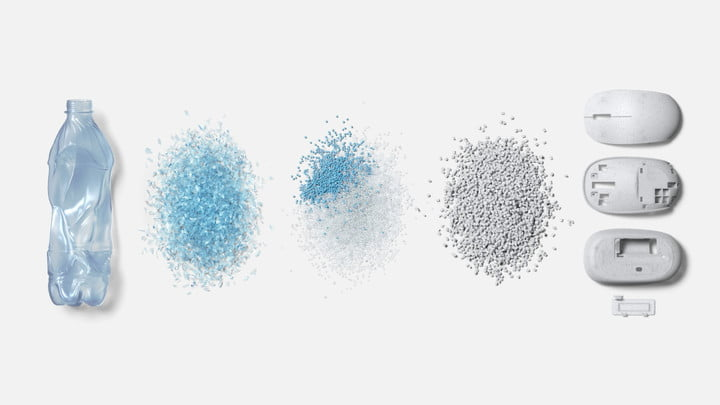 A visualization of plastic bottles being turned into Microsoft's mouse.