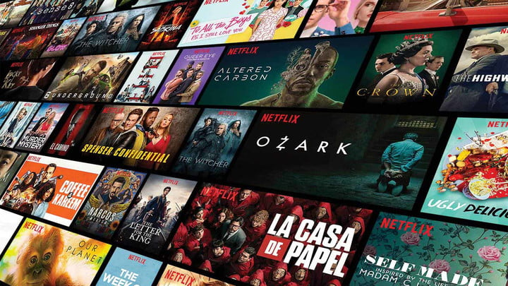 Netflix promotional art featuring shows and movies.