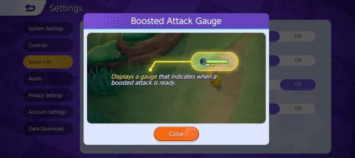 Displaying Boosted Attacks in Pokémon Unite.