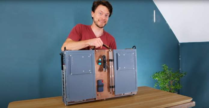 The DIY Portable All-In-One PC, folded up like a briefcase.