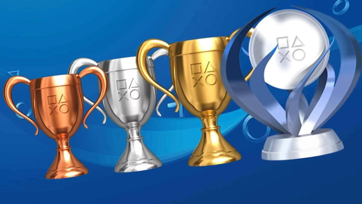 Lineup of PlayStation trophies.