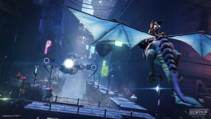 Ratchet flying a dragon in ratchet & Clank Rift Apart.