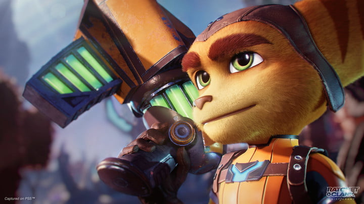 A close up of ratchet in ratchet & Clank Rift Apart.