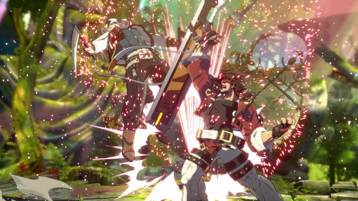 Two characters brawl in Guilty Gear Strive.