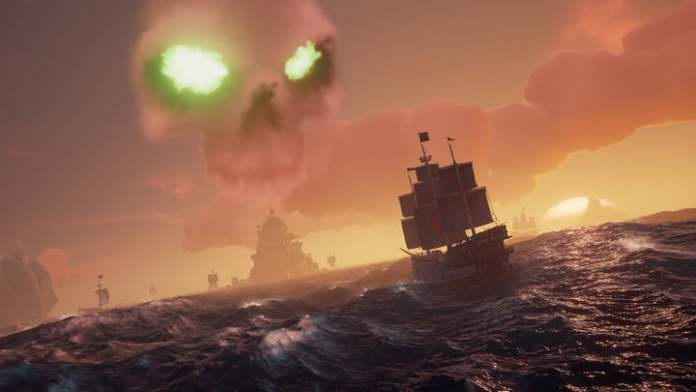 The skull of the Sea of Thieves is floating in the sky.