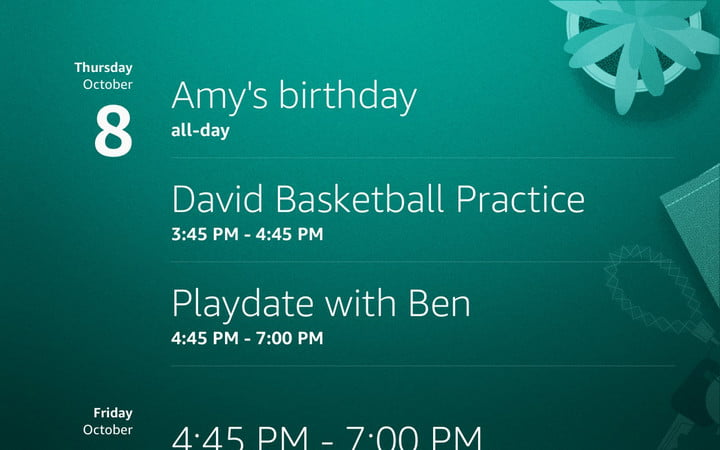 The Alexa Show Mode screen with reminders.