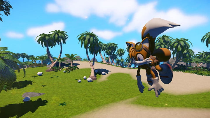 Tails hovers in the air in Sonic Boom.