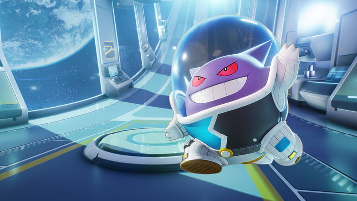 Gengar wears a space-themed suit for Unite's mobile launch.