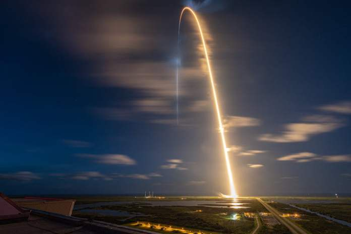 SpaceX's Falcon 9 rocket carries four Inspiration 4 crewmates into space.