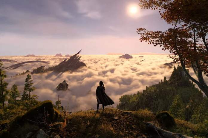 Frey stands on a cliff overlooking the clouds.