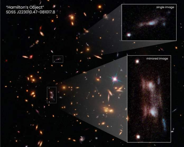 This Hubble Space Telescope snapshot shows three magnified images of a distant galaxy embedded in a cluster of galaxies.