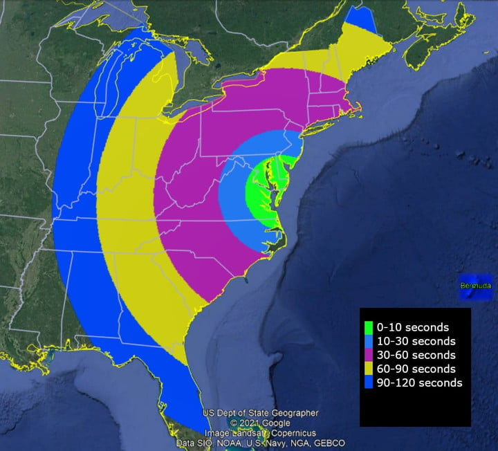 This map shows when the rocket may be visible after launch from NASA's Wallops Flight Facility. Two vapor clouds will form north of Bermuda about 9 minutes and 30 seconds after launch as part of the mission and may also be visible from eastern United States and Bermuda.