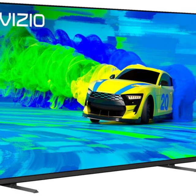 The 50-inch Vizio M50Q7-J01 QLED 4K TV with a colorful car on the display.