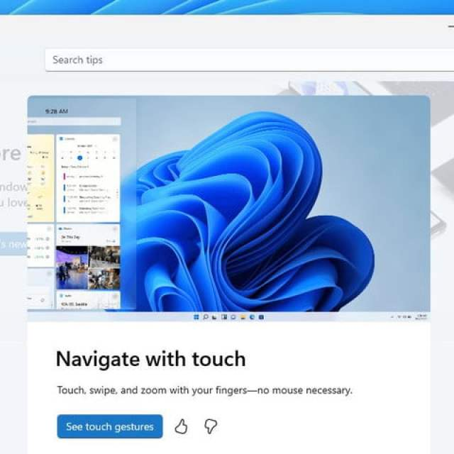 The new Tips app in Windows 11 showing the new pop-up feature.