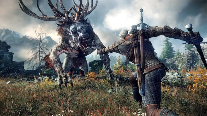 Geralt casting a spell against a beast in The Witcher 3.