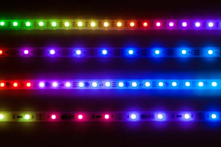 A display of LED light strips.