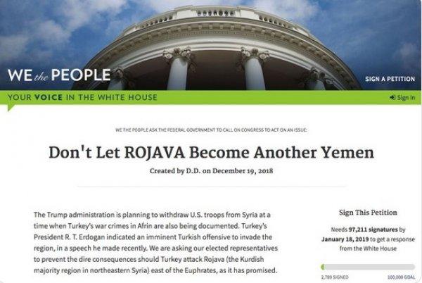 Beyaz Saray'ın sitesinde YPG için kampanya