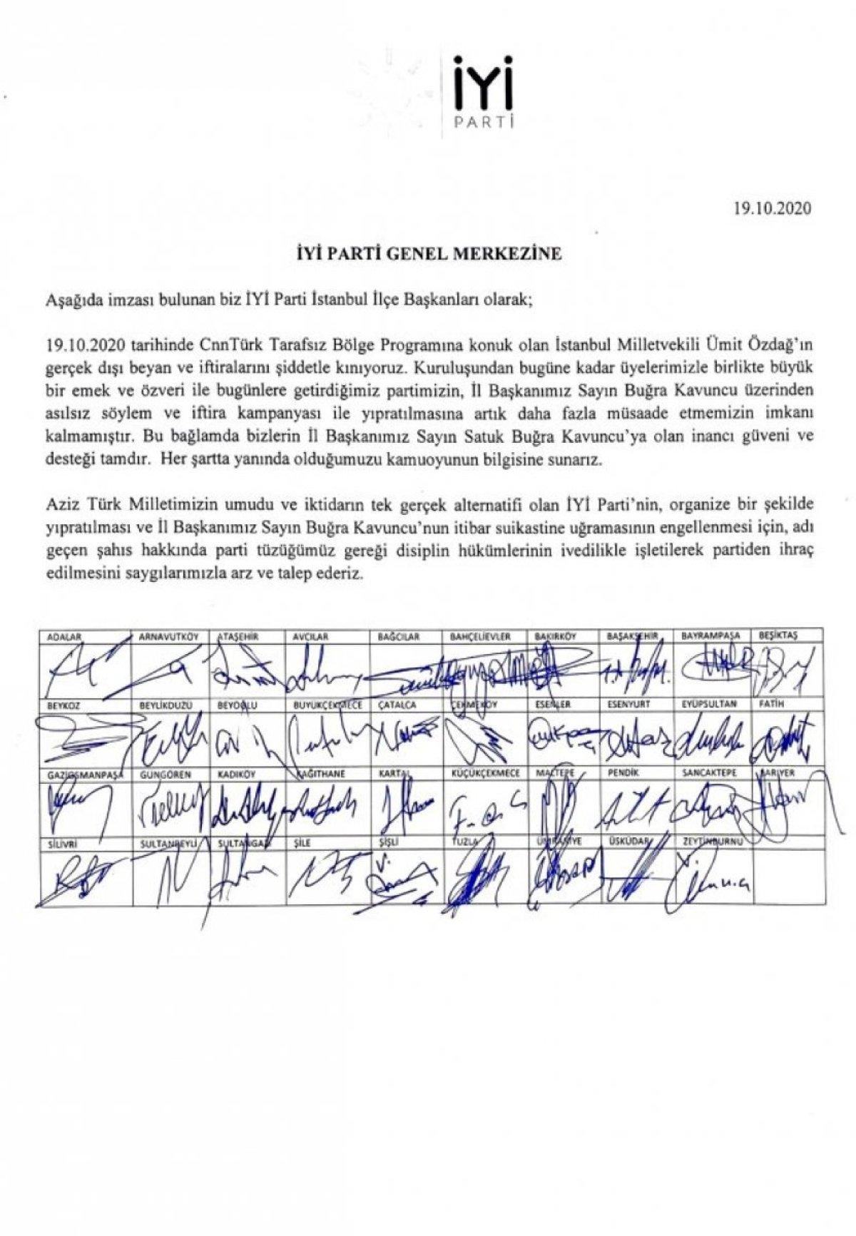 İYİ Parti İstanbul ilçe başkanları, Ümit Özdağ ın partiden ihraç edilmesini istedi #1