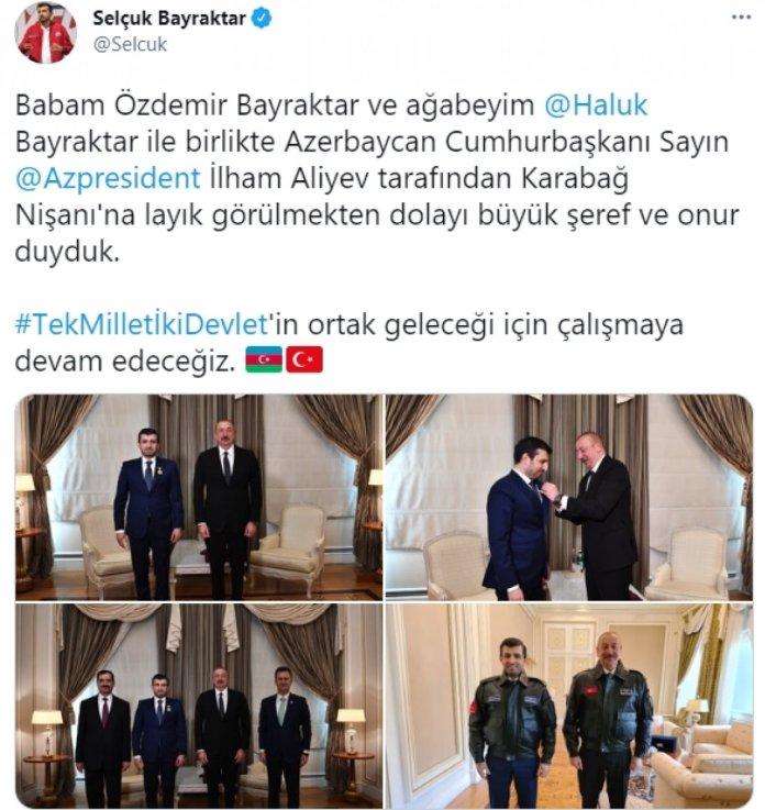 İlham Aliyev, Selçuk Bayraktar a madalya taktı #1