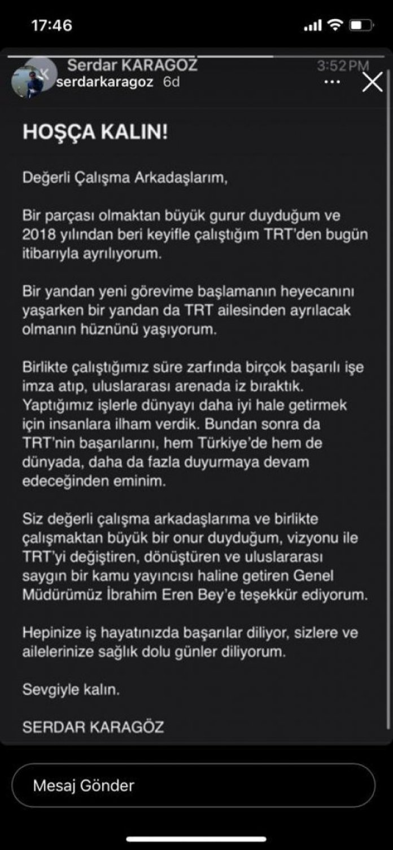 Serdar Karagöz, TRT ye veda etti #1