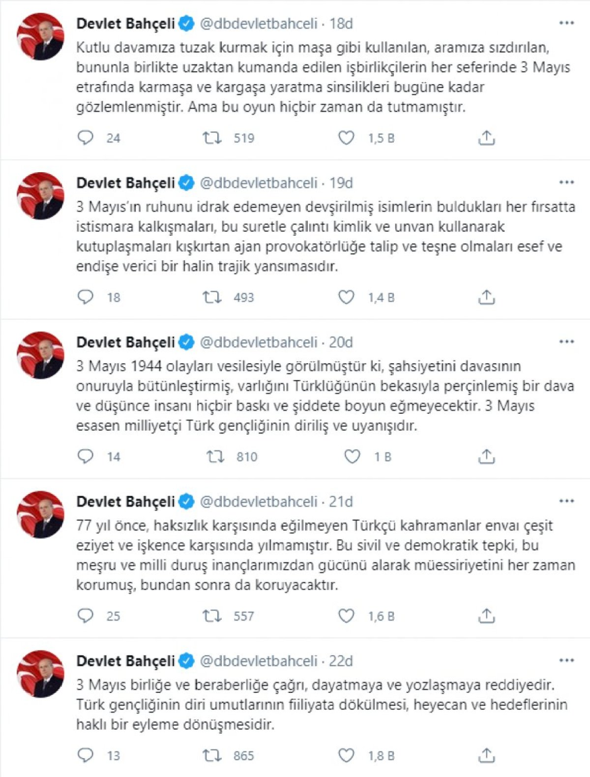 Devlet Bahçeli den 3 Mayıs Türkçülük Günü mesajı #2