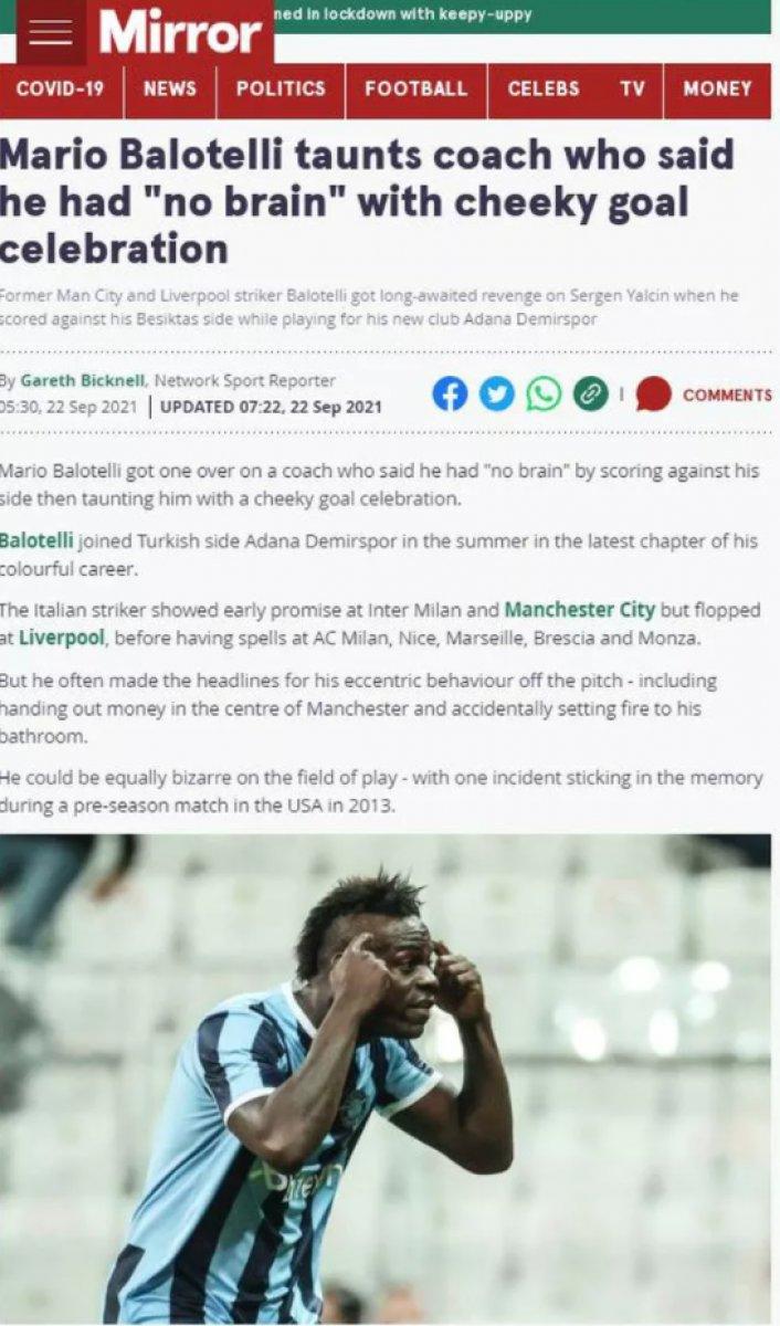 Balotelli nin yaptığı hareket dünya basınında manşet oldu #9