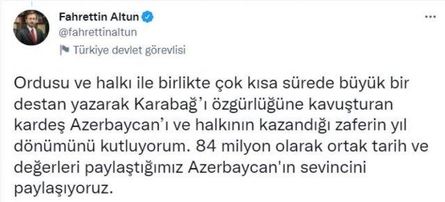 Fahrettin Altun'dan 2. Karabağ Savaşı paylaşımı #3