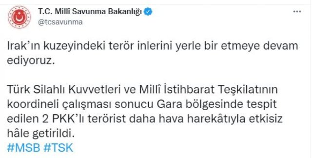Gara da, 2 PKK lı terörist etkisiz hale getirildi #2