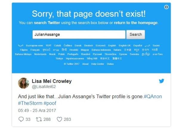 WikiLeaks kurucusu Assange'ın Twitter hesabı silindi