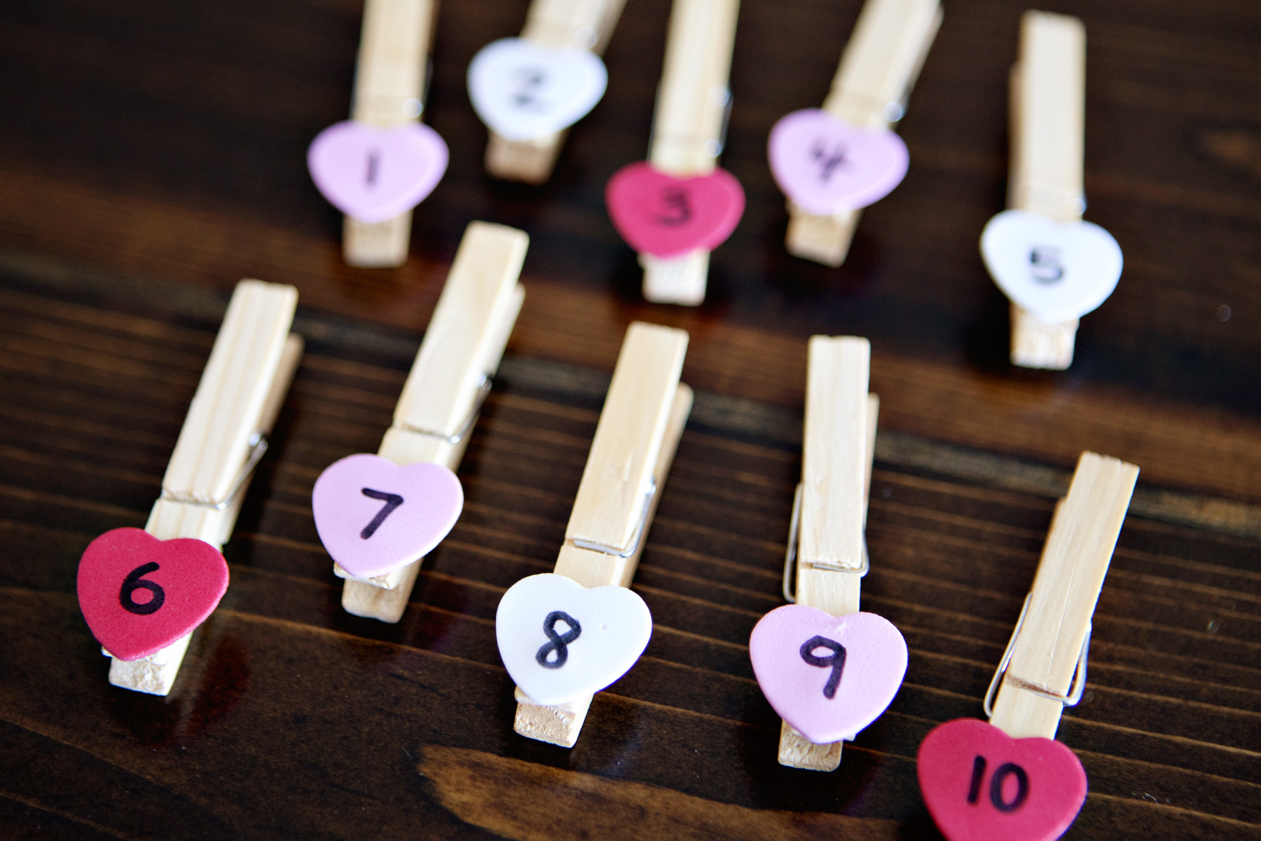 Valentine S Clothespin Counting Card
