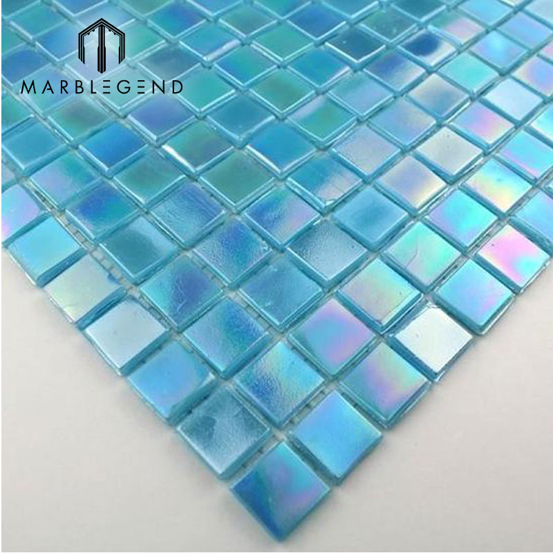 china mosaic design blue glass mosaic sheets tile for swimming pool