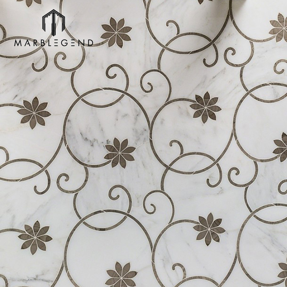 icy bloom gray polished marble waterjet mosaic tile for wall decor