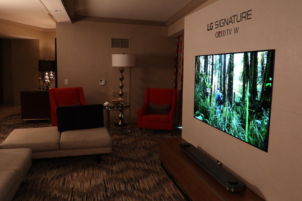 lg w series wallpaper oled hands on ces  tv