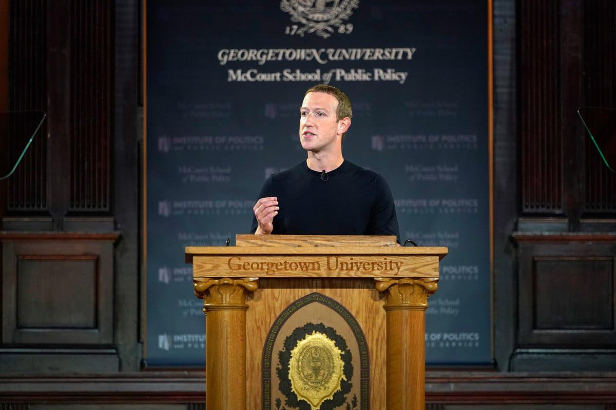 mark zuckerberg georgetown, libero intervento, annunci politici, università