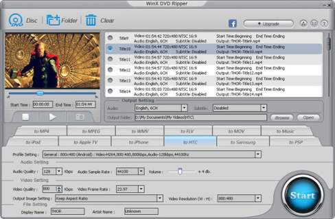 Formatos do WinX DVD Ripper