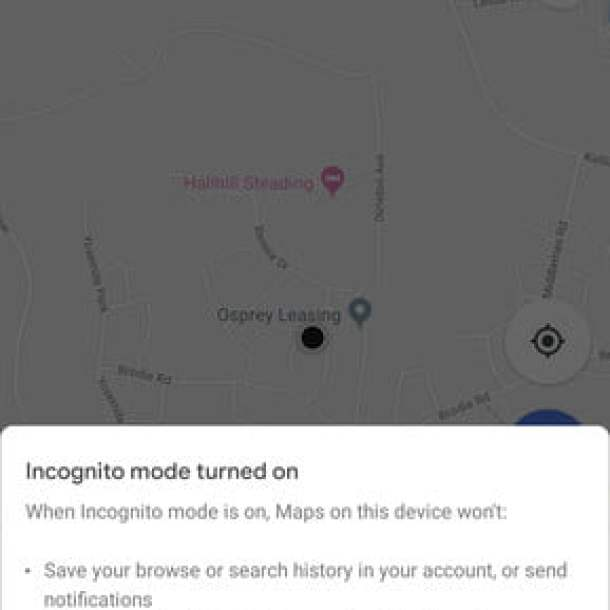 how to use google maps incognito 3