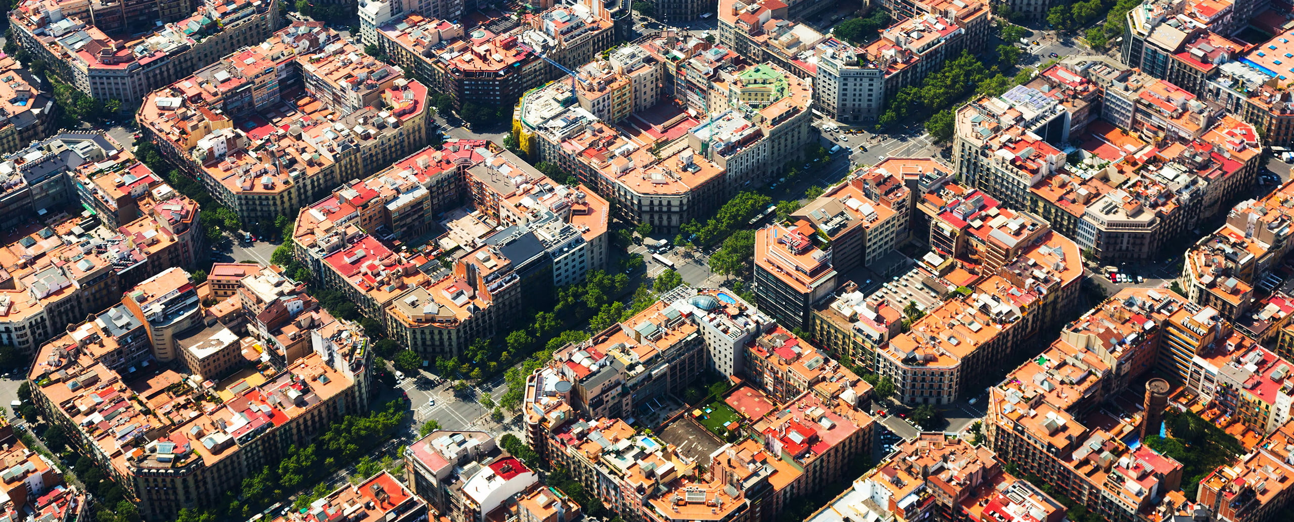 barcelona smart city technology aerial view of eixample district spain