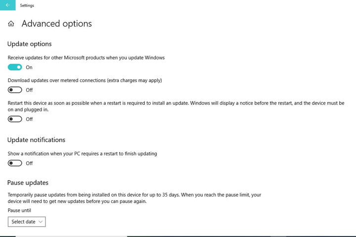 Image of Windows 10 Updates & Security Advanced Options Menu
