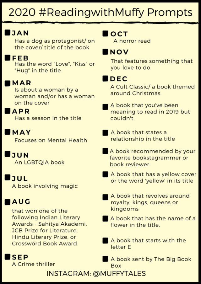 Reading with Muffy - A monthly reading challenge 2020