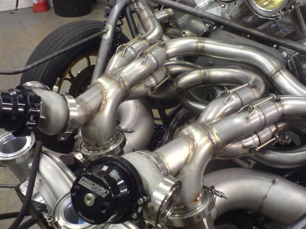 I.C.E.-built twin turbo exhaust system