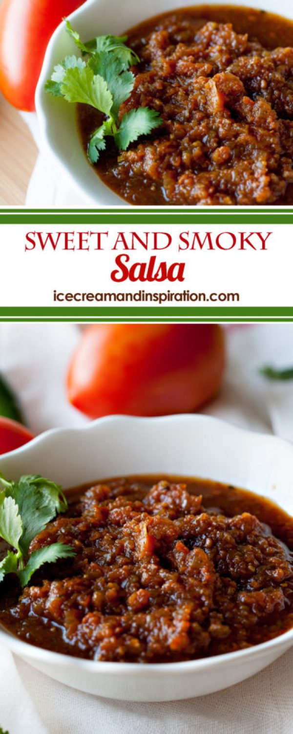This home made Sweet and Smoky Salsa is a salsa-lover's dream! Better than anything you could ever buy in a bottle! Learn the secret to the smoky flavor! Home made salsa recipe